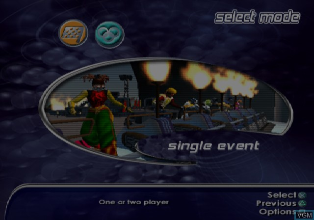 Menu screen of the game SSX on Sony Playstation 2