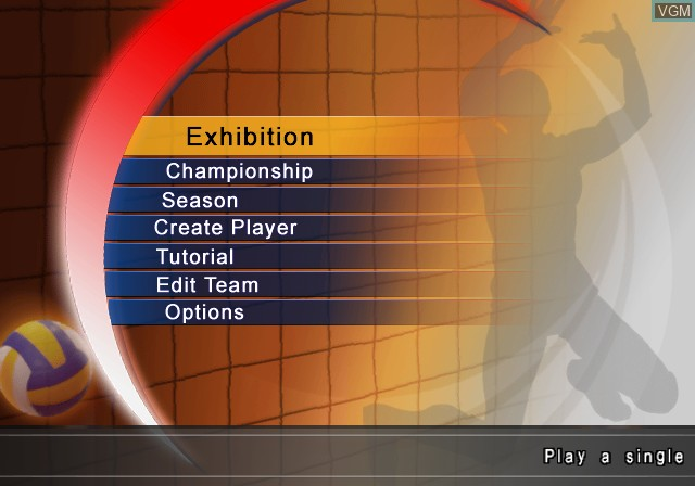 Menu screen of the game Women's Volleyball Championship on Sony Playstation 2