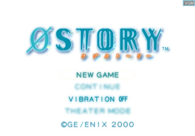 Menu screen of the game 0 Story on Sony Playstation 2