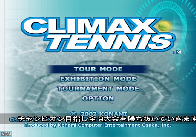 Menu screen of the game Climax Tennis - WTA Tour Edition on Sony Playstation 2