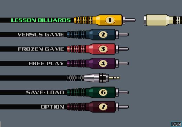 Menu screen of the game Doukyu Billiard Master 2 on Sony Playstation 2