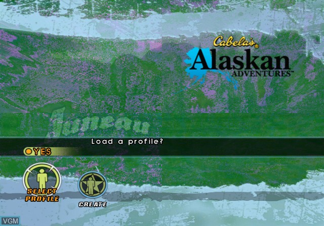 Menu screen of the game Cabela's Alaskan Adventures on Sony Playstation 2