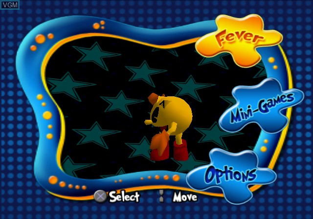 Menu screen of the game Pac-Man Fever on Sony Playstation 2