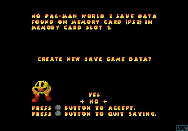 Menu screen of the game Pac-Man World 2 on Sony Playstation 2