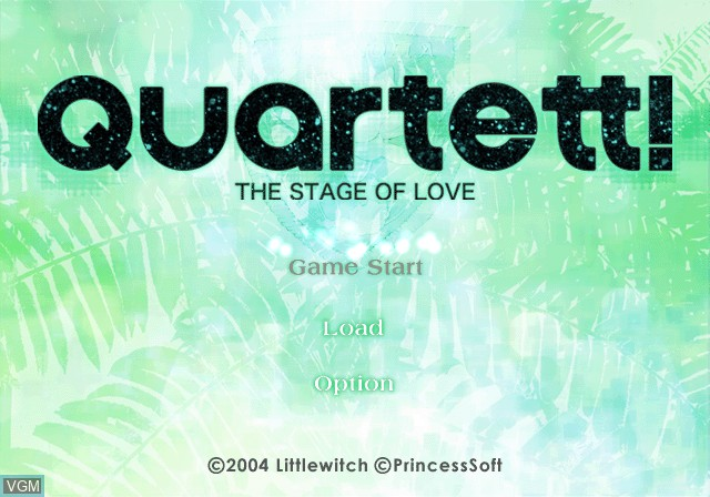 Menu screen of the game Quartet! The Stage of Love on Sony Playstation 2