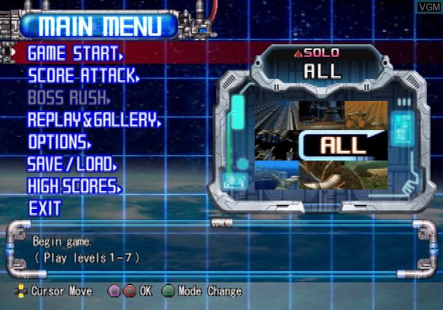Menu screen of the game Raiden III on Sony Playstation 2