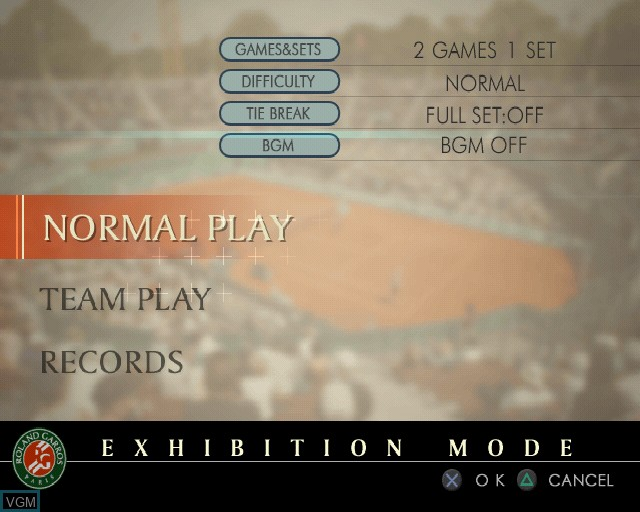 Menu screen of the game Roland Garros 2005 - Powered by Smash Court Tennis on Sony Playstation 2