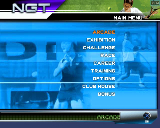 Menu screen of the game Roland Garros French Open 2002 on Sony Playstation 2