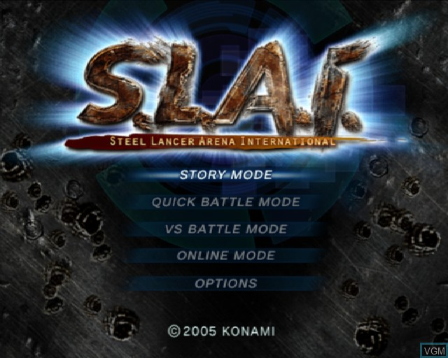 Menu screen of the game S.L.A.I. - Steel Lancer Arena International on Sony Playstation 2