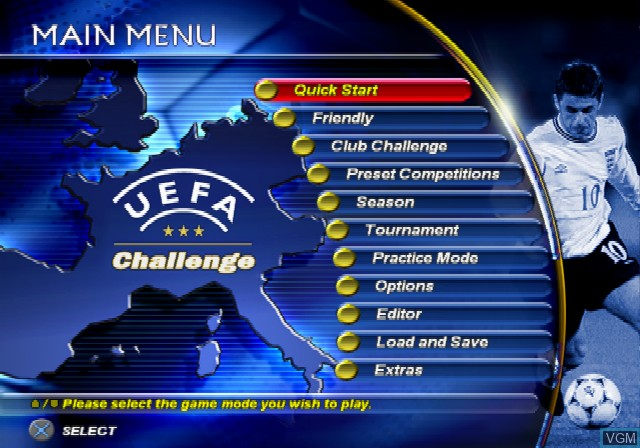 Menu screen of the game UEFA Challenge on Sony Playstation 2