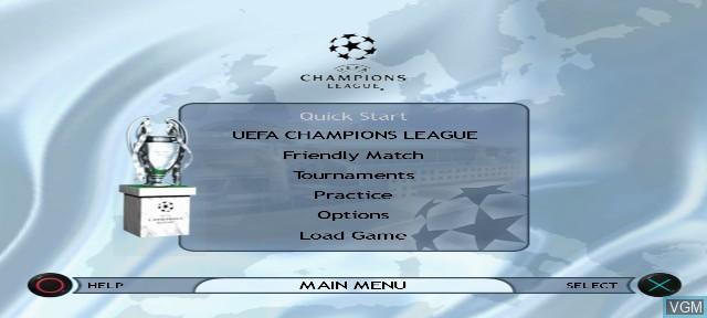 Menu screen of the game UEFA Champions League Season 2001/2002 on Sony Playstation 2