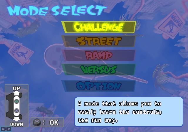 Menu screen of the game Yanya Caballista - City Skater on Sony Playstation 2