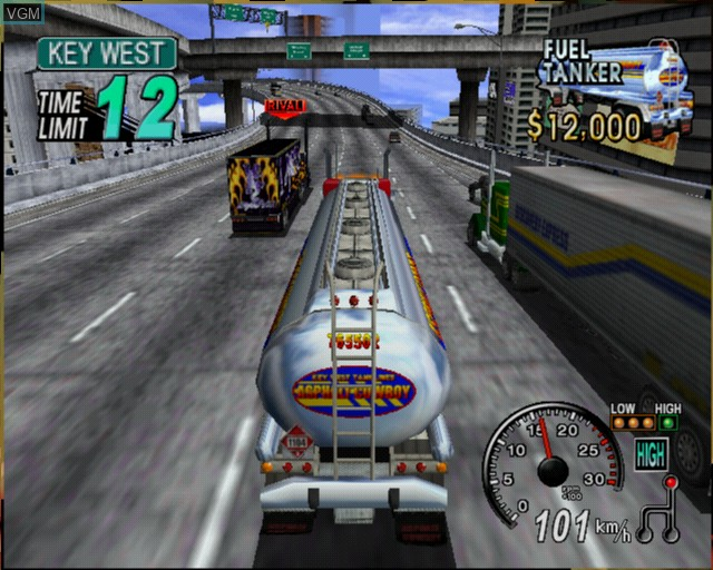 In-game screen of the game 18 Wheeler - American Pro Trucker on Sony Playstation 2
