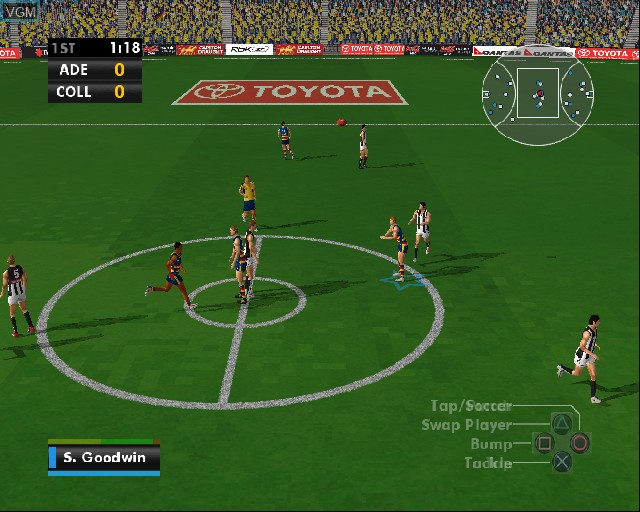 In-game screen of the game AFL Premiership 2006 on Sony Playstation 2