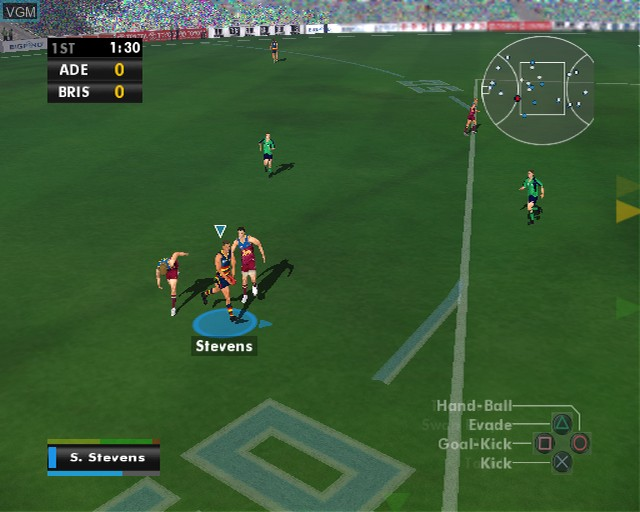 In-game screen of the game AFL Premiership 2007 on Sony Playstation 2
