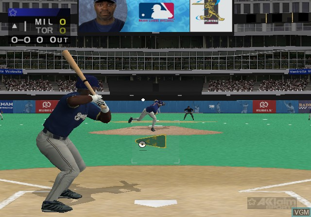 In-game screen of the game All-Star Baseball 2003 on Sony Playstation 2