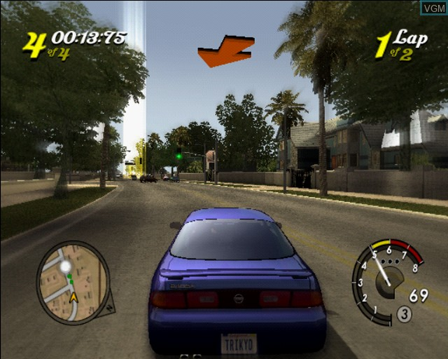 In-game screen of the game L.A. Rush on Sony Playstation 2