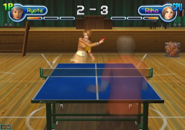 In-game screen of the game Pink Pong on Sony Playstation 2