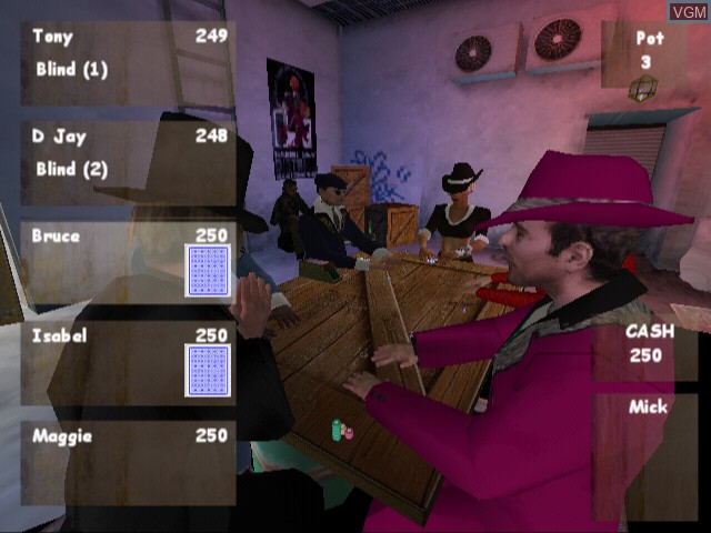 In-game screen of the game Poker Masters on Sony Playstation 2