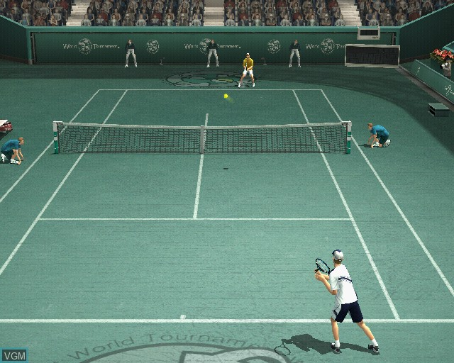 In-game screen of the game Smash Court Tennis Pro Tournament 2 on Sony Playstation 2