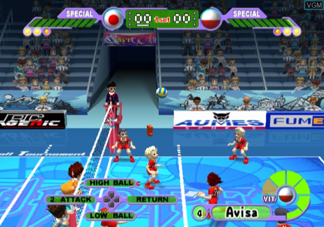 In-game screen of the game Volleyball Challenge on Sony Playstation 2