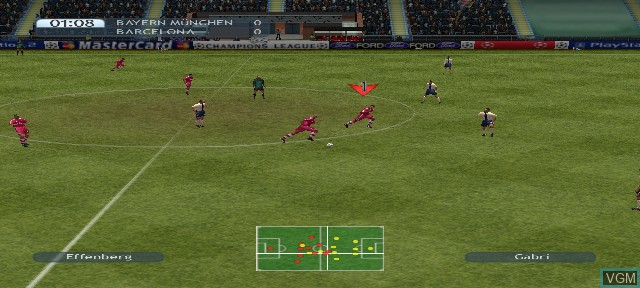In-game screen of the game UEFA Champions League Season 2001/2002 on Sony Playstation 2