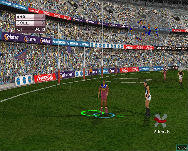 In-game screen of the game AFL Live Premiership Edition on Sony Playstation 2
