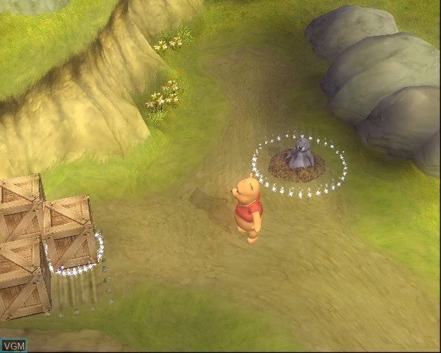 In-game screen of the game Winnie the Pooh's Rumbly Tumbly Adventure on Sony Playstation 2