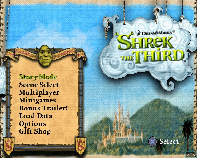In-game screen of the game Shrek SuperSlam on Sony Playstation 2