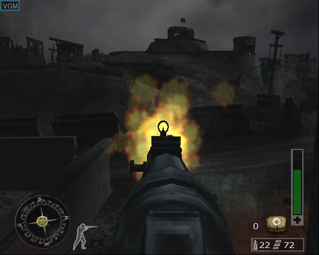 In-game screen of the game Call of Duty - Finest Hour on Sony Playstation 2
