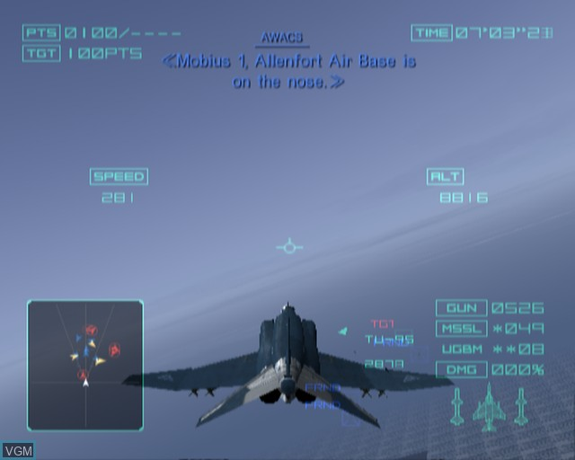 In-game screen of the game Ace Combat - Distant Thunder on Sony Playstation 2