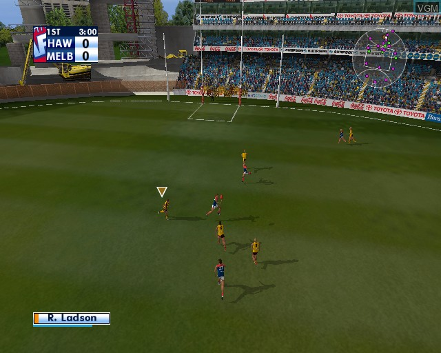In-game screen of the game AFL Premiership 2005 - The Official Game of the AFL Premiership on Sony Playstation 2
