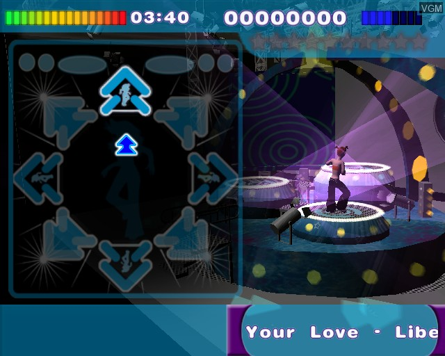 In-game screen of the game All Music Dance on Sony Playstation 2