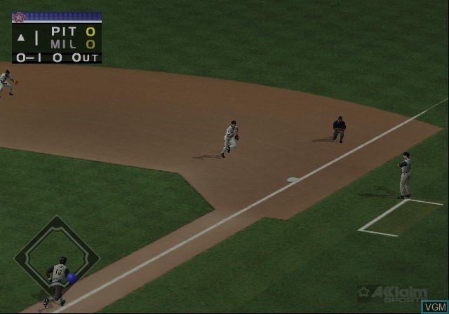 In-game screen of the game All-Star Baseball 2002 on Sony Playstation 2