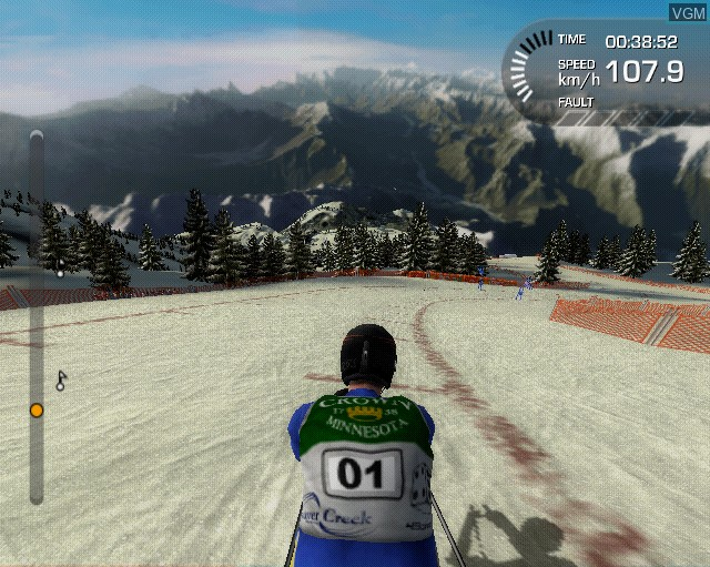In-game screen of the game Alpine Ski Racing 2007 on Sony Playstation 2