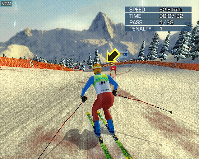 In-game screen of the game Alpine Skiing 2005 on Sony Playstation 2
