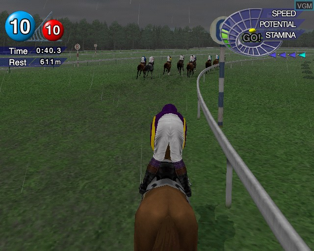 In-game screen of the game G1 Jockey on Sony Playstation 2