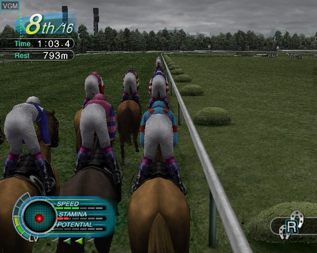 In-game screen of the game G1 Jockey 3 on Sony Playstation 2