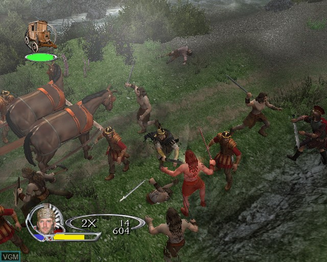 In-game screen of the game King Arthur on Sony Playstation 2