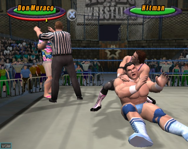 In-game screen of the game Legends of Wrestling on Sony Playstation 2