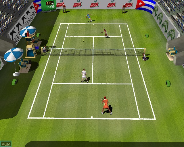 In-game screen of the game Perfect Ace 2 - The Championships on Sony Playstation 2