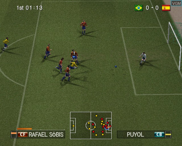 In-game screen of the game Pro Evolution Soccer 2008 on Sony Playstation 2
