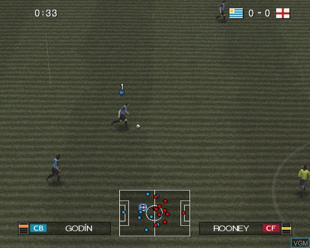 In-game screen of the game Pro Evolution Soccer 2009 on Sony Playstation 2