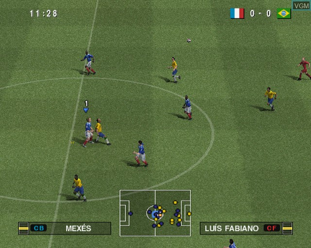 In-game screen of the game Pro Evolution Soccer 2010 on Sony Playstation 2