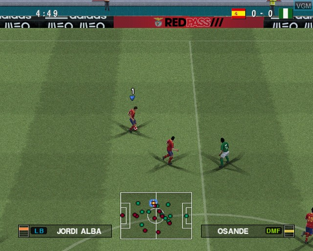 In-game screen of the game Pro Evolution Soccer 2014 on Sony Playstation 2