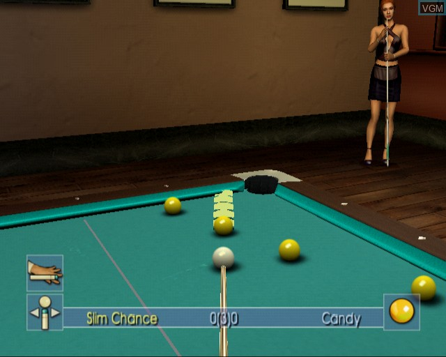 In-game screen of the game Pool Shark 2 on Sony Playstation 2
