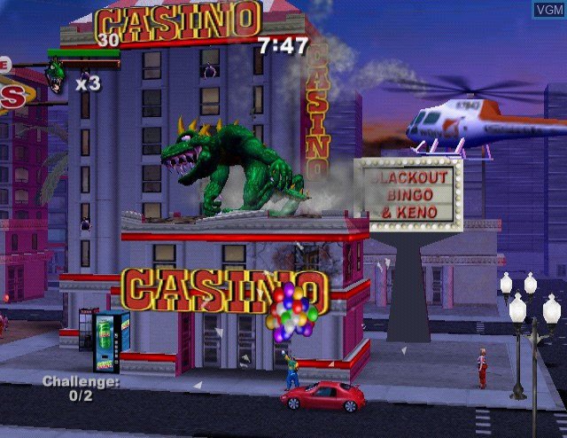 In-game screen of the game Rampage - Total Destruction on Sony Playstation 2