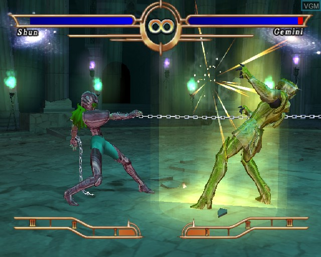 In-game screen of the game Saint Seiya - The Sanctuary on Sony Playstation 2
