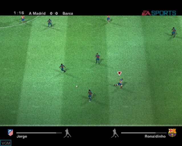 In-game screen of the game UEFA Champions League 2004-2005 on Sony Playstation 2