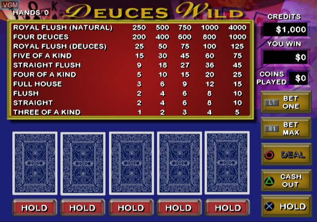 In-game screen of the game Video Poker & Blackjack on Sony Playstation 2